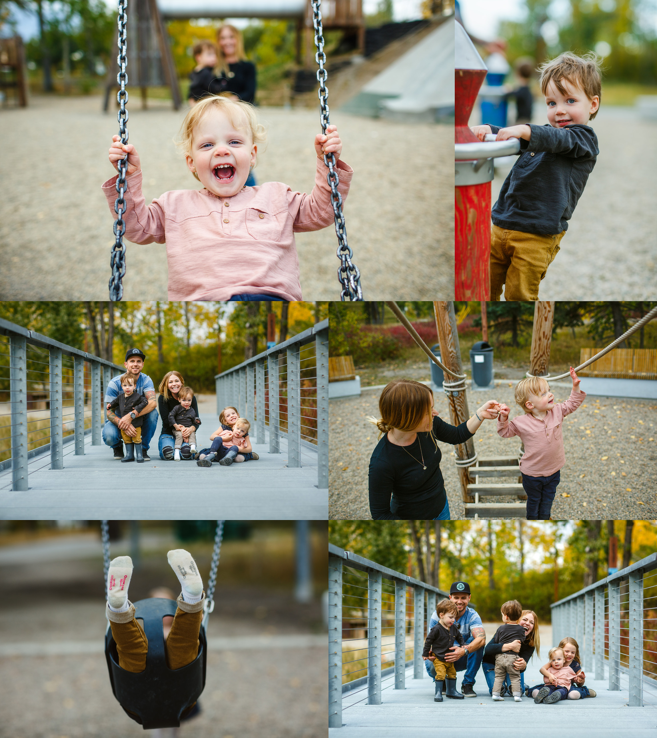 Fun multiples photo session at a playground in Calgary